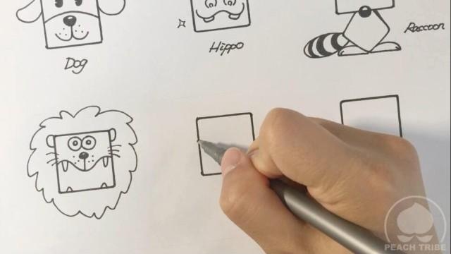 亲子绘画 桃子部落简笔画之可爱的方形