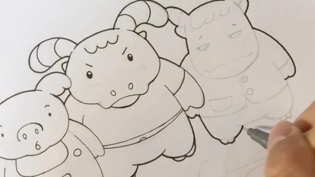 亲子绘画 桃子部落简笔画之胖子兄弟