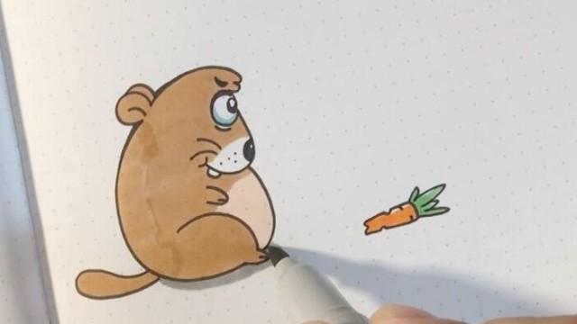 亲子绘画 桃子部落简笔画字幕g画土拨鼠