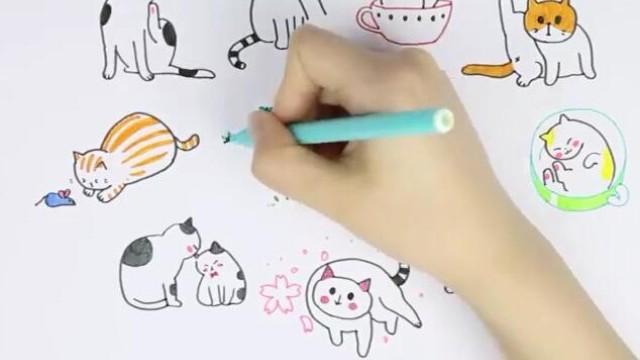 飞乐鸟绘画 超减压的猫咪简笔画